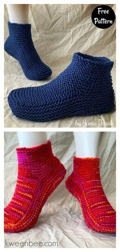 Garter Stitch Moccasin Slippers with a Cuff Free knitting Pattern Beginner Knitting Patterns, Easy Knitting Projects, Knitting For Beginners, Easy Crochet Patterns, Crochet Ear Warmer Pattern, Knit Slippers Free Pattern, Knitted Slippers, Knitted Booties, Baby Hats Knitting