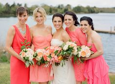 bright pink + peach bridesmaids dresses // photo by Stacey Hedman, floral design by Petal Floral Design // View more: http://ruffledblog.com/romantic-marthas-vineyard-wedding/