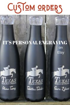 Custom orders available to fit any need! Laser engraving will not fade or peel like vinyl. Perfect to promote your ranch, an event, or give to your favorite horse lover! Check it out!  #equestrian #ranch #eventing #horses #jumping #equine Customized Gifts, Custom Gifts, Personalized Gifts, Personalized Tumblers, Custom Water Bottles, Personalized Water Bottles, Create Logo Design, Laser Engraved Gifts, Equestrian Gifts