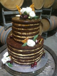 Sticky date wedding cake by Clyde Park.... Oozing with caramel sauce!!