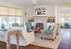 neutral living room with turquoise accents | Martha's Vineyard Interior Design