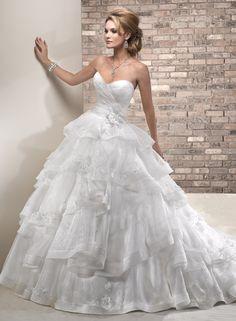 White and Gold Wedding. Sweetheart Corset Ballgown Dress. Maggie Sottero (Amaryllis - front) princess wedding dress