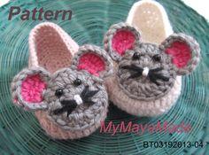 Crochet Pattern  Cute Mouse Crochet Baby Booties PDF ♥ by MyMayaMade, $5.99