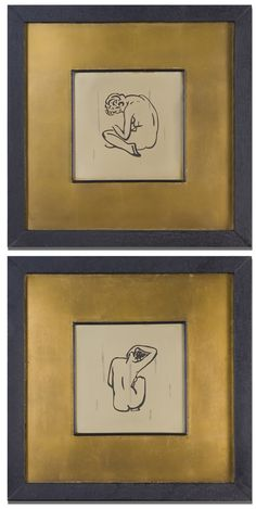 Nude + golden paspartu + black frame