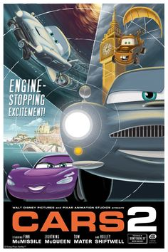 Cars 2 promotional poster Disney Pixar Cars, Cartoon Disney, Film Pixar, Pixar Movies, Disney Movies, Cars 2 Movie, Film Cars, Walt Disney Pictures, Disney Posters
