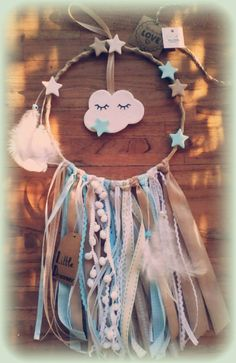 Dream Catcher for a baby boy by LikeADreamAthens on Etsy catcher craft for boys Items similar to Dream Catcher Wall art for a baby boy on Etsy Grand Dream Catcher, Diy Dream Catcher For Kids, Dream Catcher Craft, Diy Tumblr, Cotton Decor, Diy Holz, Crochet For Kids, Crochet Ideas, Crochet Baby