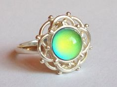 Sterling Silver 925 Flower Daisy Blossom Mood Ring Color Changing