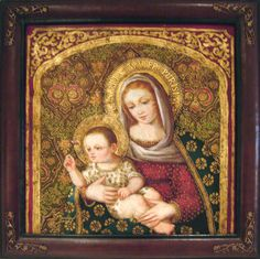 """Virgin Mary Original Oil Painting - Madona del Clavel by Mendoza Madona del Clavel translated from Spanish means Madonna of the Carnation.  Artist: Diana Mendoza Size: 24 High x 24 Wide.    Frame Description: High quality, handmade leather frame, itself is a work of art. Gentle, contoured scoop design, corner embellishments.  Frame Size: 3-1/8"""" W x 1-1/2"""" D  Hand-painted, original oil painting on canvas of the Virgin Mary.  Framed and ready to hang."""