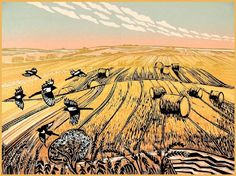 Magpies in a Summer Field, Rob Barnes Linocut