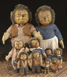 A collection of Steiff Mecki and Micki  for sale at Christie's in 2005, spanning from the very small to the very large.  All made in Germany or West Germany, 20th century.