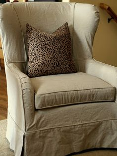 Custom Slipcovers by Shelley - wing chair with English roll arm
