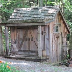 Bob Stone. Stone designed and built this wooden shed to house his yard equipment after the garage became too full. The white pine he used was milled at a local sawmill, and the roof shingles are hand-split cedar. The old window and door hardware came from the Brimfield, Mass., antique and flea market.