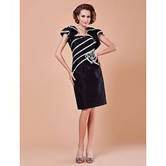 Sheath/Column Spaghetti Straps Short Sleeve Knee-length Mother of the Bride Dress With A Wrap – AUD $ 83.39