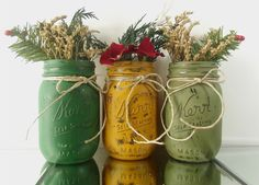 Hey, I found this really awesome Etsy listing at https://www.etsy.com/listing/207849824/green-and-gold-hand-painted-mason-jars