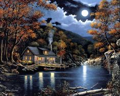 John Zaccheo Cabin By The Lake print for sale. Shop for John Zaccheo Cabin By The Lake painting and frame at discount price, ships in 24 hours. Cheap price prints end soon. Thomas Kinkade, Lake Painting, Moon Painting, Diy Painting, Pallet Painting, Beautiful Paintings, Beautiful Landscapes, Kinkade Paintings, Paint By Number Kits