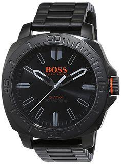 Montre Homme Boss Orange 1513241 - Quartz - Analogique - Cadran et Bracelet en Acier Noir - Etanche 5 bar - Montre Allemande
