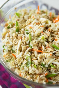 This ridiculously amazing Asian ramen salad will have you and your guests going back for thirds and fourths. Everyone will be asking for the recipe! I make mine with the ramen seasoning packets in the dressing. Asian Ramen Salad, Asian Slaw With Ramen Noodles, Ramen Oriental Salad, Ramen Cabbage Salad, Asian Salads, Oriental Coleslaw Salad Recipe, Japanese Cabbage Salad, Asian Recipes, Healthy Recipes