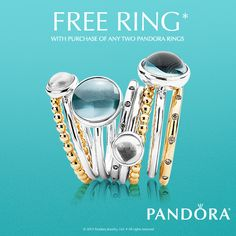 Make a bold statement this summer with a fun, pop of color! Mix and match different metals and stones to create a unique ring stack that is truly one of a kind. And now we're making it even easier with our July Ring Event. From now until July 17th, buy any two rings, get another one for free!  http://www.pandora.net/en-us/campaigns/us/julyringevent16
