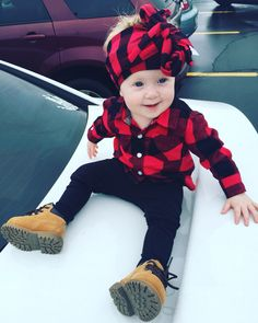 Sassy olive wrap. Leggings, flannel, and baby boots.  love