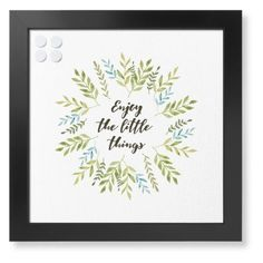 Enjoy the Little Things Framed Magnetic Board, Black, Contemporary, 16 x 16 inches, White