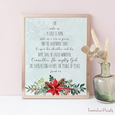 Items similar to For unto us a child is born, Isaiah 9 Bible Verse Prints, christmas tree print on Etsy Christmas Gift Tags Printable, Christmas Tag, Christmas Printables, Isaiah 9 6, Weekly Planner Printable, Lord Is My Shepherd, Bible Verse Wall Art, A Child Is Born, Christian Wall Art