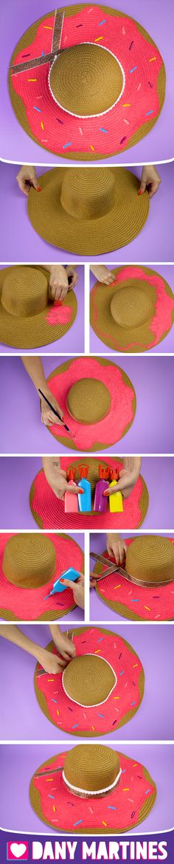 Faça você mesmo um Chapéu Donut, verão, praia, piscina, decoração, fácil de fazer, DIY, Do It Yourself, Dany Martines