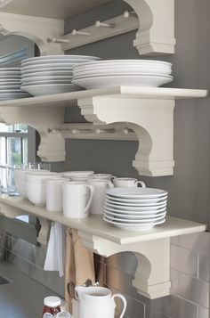 Trending: Open shelving in the kitchen. Get this look with functional and beautifully designed corbels! The right corbel will provide structural support while also pulling together the entire room. Shop Martha Stewart Living Kitchens only at @homedepot.