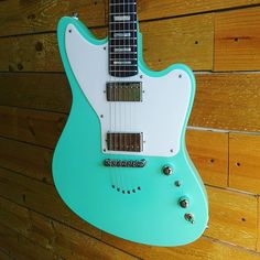 Josh's seafoam #Zuma with string-thru body and block inlays. Love it. #customguitar #designedonline #seafoam #gearnerds #geartalk
