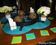 ships wheel decorations and coasters for nautical themed baby shower