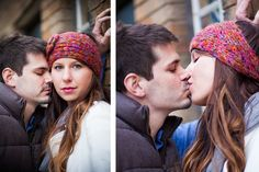 Winter engagement portrait photographer downtown Indianapolis couple kiss | (c) Brittany Erwin Photography