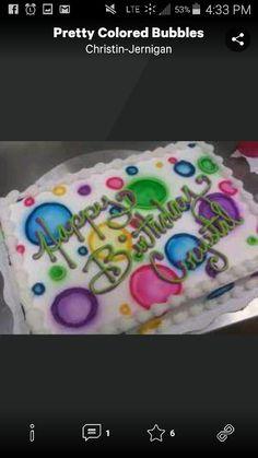 Pretty Colored Bubbles Sheet Cake