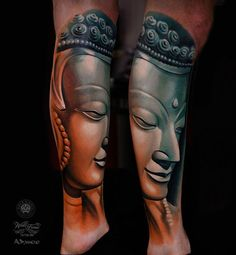 Buddha tattoo is a form of Buddhist art influenced by Buddhism. Similar to other religious tattoos, it's popular for those who have faith in Buddhism. Buddha Tattoos, Buddhist Symbol Tattoos, Hindu Tattoos, Buddhism Tattoo, Arm Tattoo, Tattoo Motive, Leg Tattoos, Tattoos For Guys, Cool Tattoos