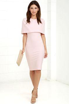 Elliatt Elevate Dress - Light Pink Dress - Midi Dress - Cape Dress - $143.00