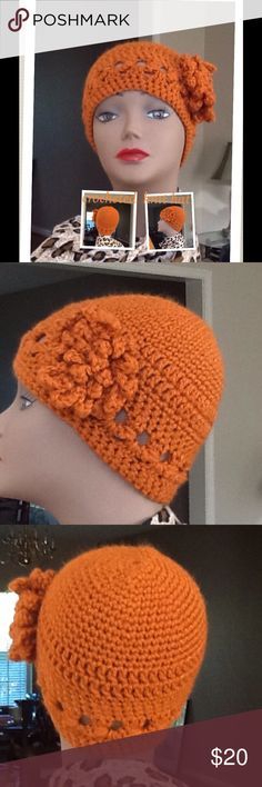 💜Crocheted knit hat 💜 Such a hot earth tone color excellent condition and well made no defects.  10 inches from top to bottom. Hand crochected Accessories Hats