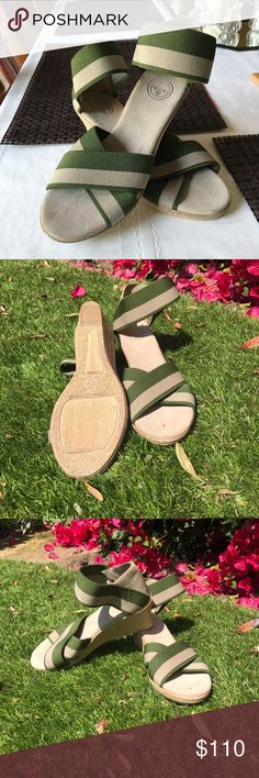 "Tory Burch Green and Cream Wedges Very comfortable 3"" Tory Burch wedges. Size 7, green and cream color, stretchy straps Tory Burch Shoes Wedges"