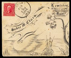 To Sadie M. Clark. Hand-drawn calligraphic cover, 1904, designed with a place for the stamp at the upper left.