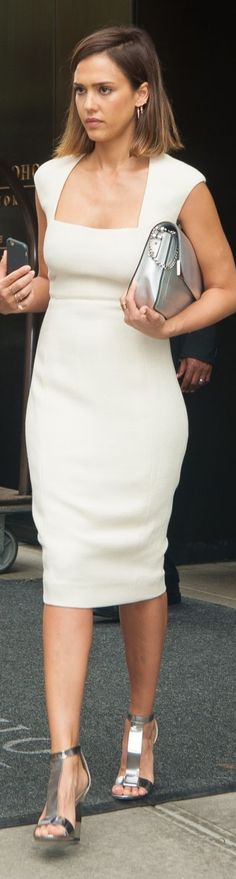 Jessica Alba's style. white dress women fashion outfit clothing style apparel @roressclothes closet ideas