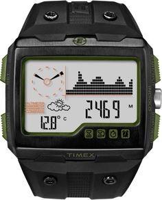 Timex Expedition - WideScreen 4 Function Watch - Black/Graphite One Size Best Watches For Men, Cool Watches, Wrist Watches, Smartwatch, Daniel Wellington, Tommy Hilfiger Watches, Timex Expedition, Digital Wrist Watch, Timex Watches