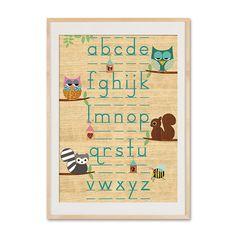 Poster ABC lernen mit Tieren auf Holz // poster alphabet with animals by VintagePaperGoods via DaWanda.com