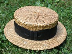 Antique 1920s Men's Straw Boater Hat