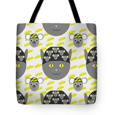 Continuous Pattern Tote Bag featuring the digital art Cat, Mouse And Cheese by… Cat Mouse, Bag Sale, Digital Art, Reusable Tote Bags, Cheese, Cats, Pattern, Shopping, Black