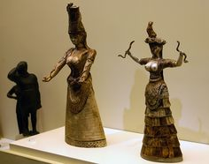 "These ladies are the so called ""Snake Goddesses"" found in the ancient Knossos Palace in Heraklion of Crete... They wear the the typical Minoan women's dress-These statuettes dated to 17th-16th cent BC typical Minoan w..."