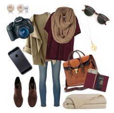 """""""Arriving in Ireland"""" by hannahschagene ❤ liked on Polyvore featuring Frame Denim, Zara, Tiffany & Co., H&M, BERRICLE, Madewell, Royce Leather, Canon, Tavik Swimwear and travel"""