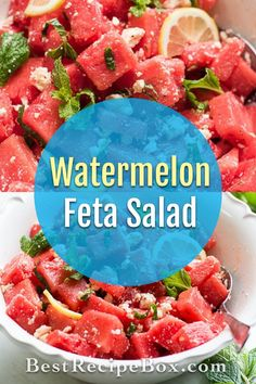 This is our refreshing watermelon feta salad recipe. Our watermelon salad with feta cheese is sure to wow your Summer party guests. Watermelon Feta Salad Recipes, Watermelon And Feta, Side Salad Recipes, Healthy Salad Recipes, Savory Salads, Easy Salads, Veggie Side Dishes, Healthy Side Dishes, Quinoa