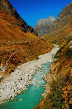 Alaknanda [shown here 3 km from the Badrinath temple, Chamoli district, Uttarakhand, India] - a major tributary of Ganga -  traverses 190 km from the Himalayan glacier before meeting the Bhagirathi at Dev Prayag to become the sacred river Ganga that is considered a benediction, a divine kindliness manifesting herself in beauty, peace and purity she confers. The river Ganga - integral to Indian culture, civilization and religious philosophy - is one of India's most enduring images.