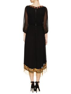 Haveri Silk Embellished Bishop Sleeve Dress from alice + olivia Apparel on Gilt