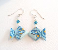 Origami Earrings - Blue & Orange Fish with Turquoise Swarovski Crystal