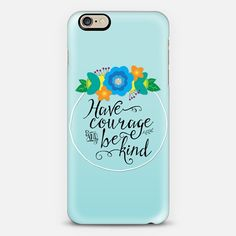 Floral Have Courage and Be Kind Blue 02 - Classic Snap Case