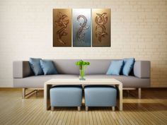"""Original Textured Acrylic Triptych Paintings, Silver and Gold Sculptures by Joaquina - Size: 46""""x30"""" x 1 1/2"""" #Textured #Acrylic #Paintings"""