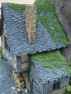 Making Slate Roofs and Stone Chimneys for Fairy Houses - Need to spray weatherproofing sealant to make it okay for outdoors. LOVE!!!